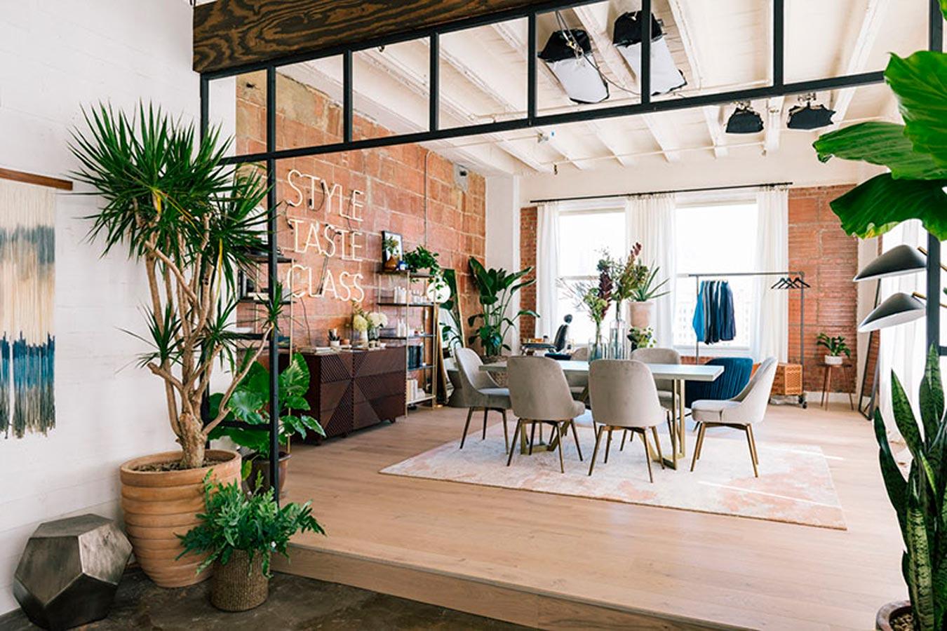 ambiente de oficina- showroom con plantas
